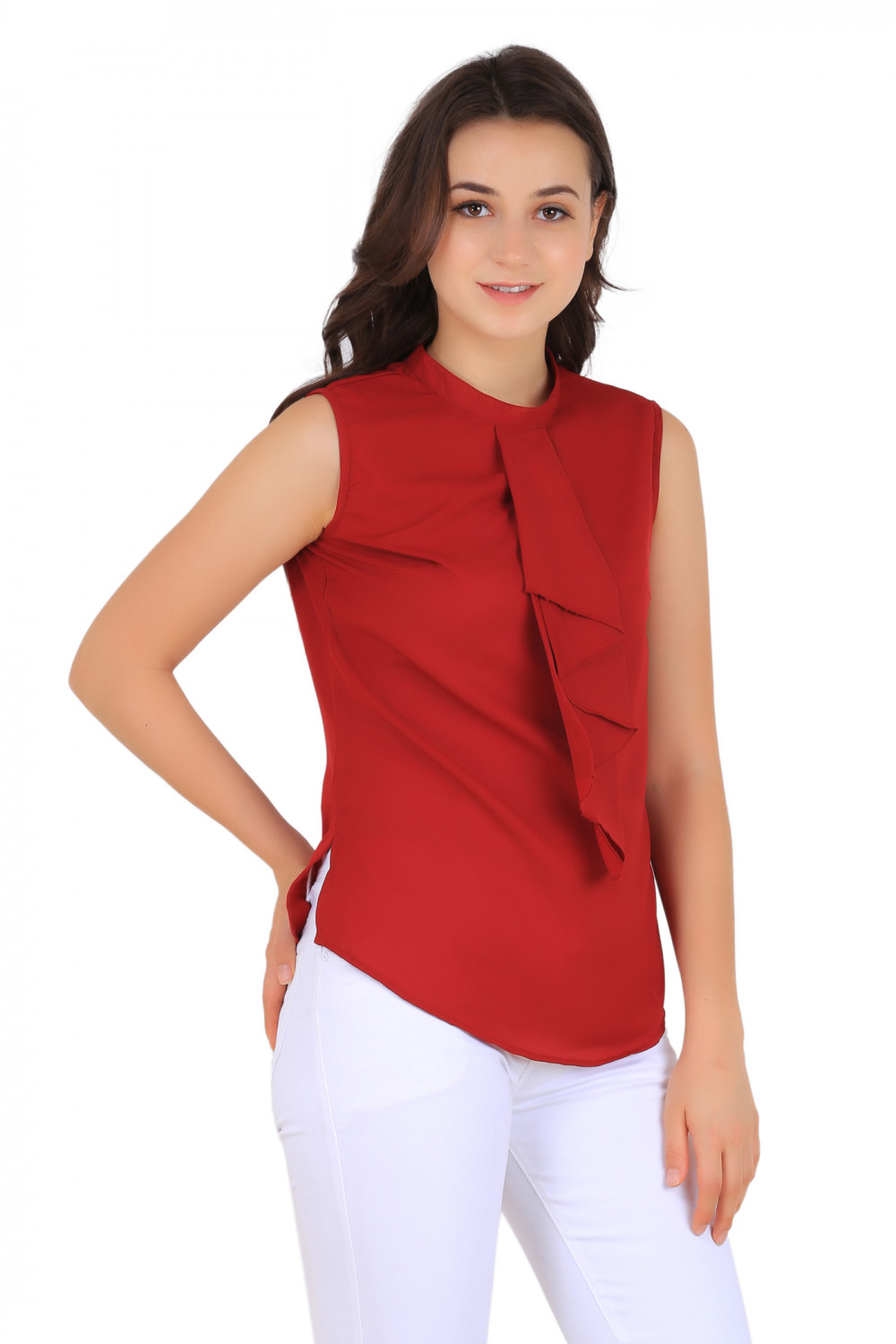 Buy New Fashion Life Style Woman Round Neck Tie Maroon Red Plain Summer Cool Crepe On Solder