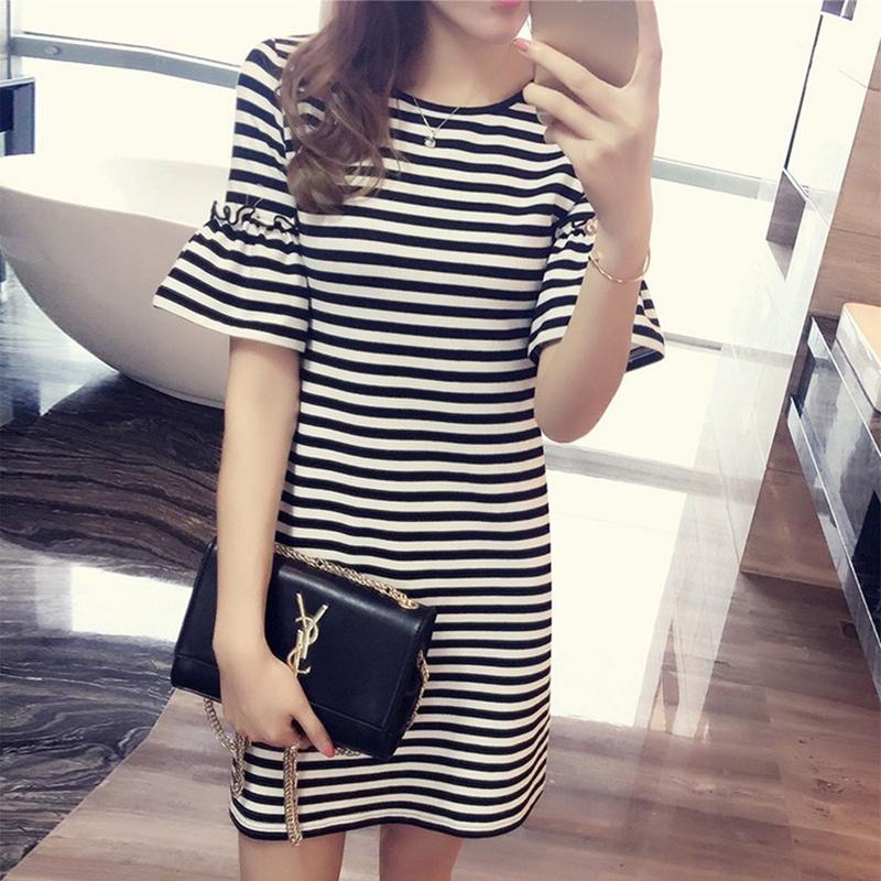 thinkoutshout O-neck Horizontal Strip Cotton Short-sleeve Midi Dresses
