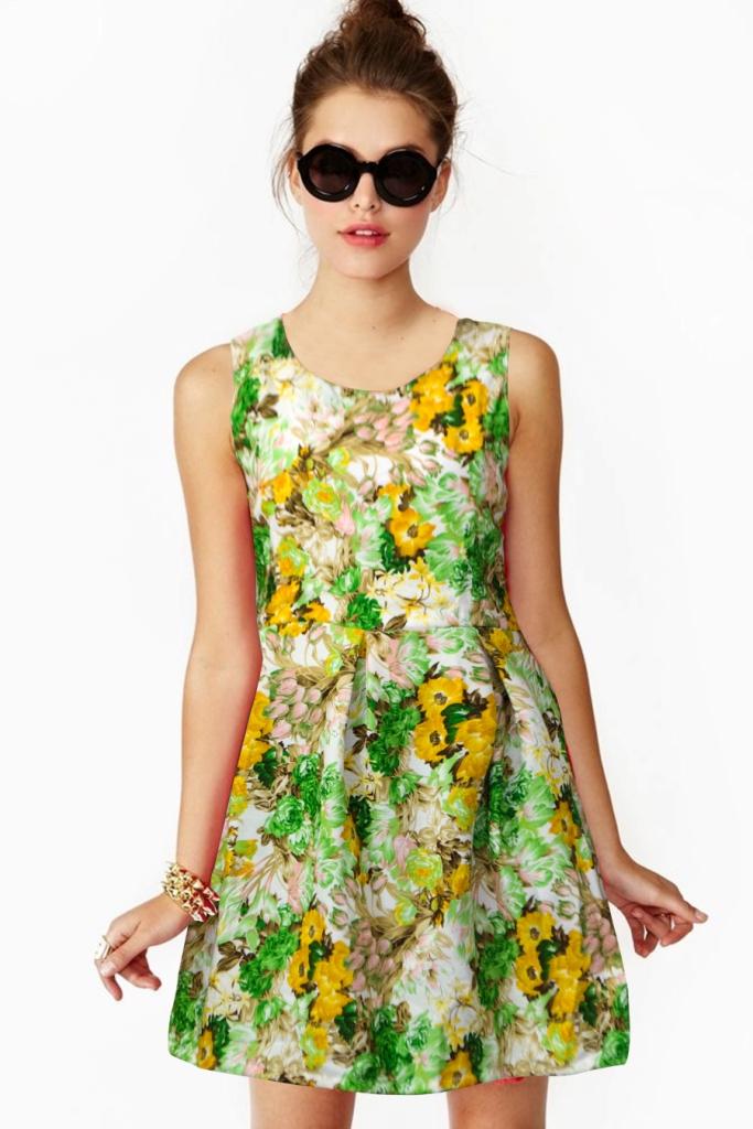 regonsell2 Floral Green Color Printed Western Dress