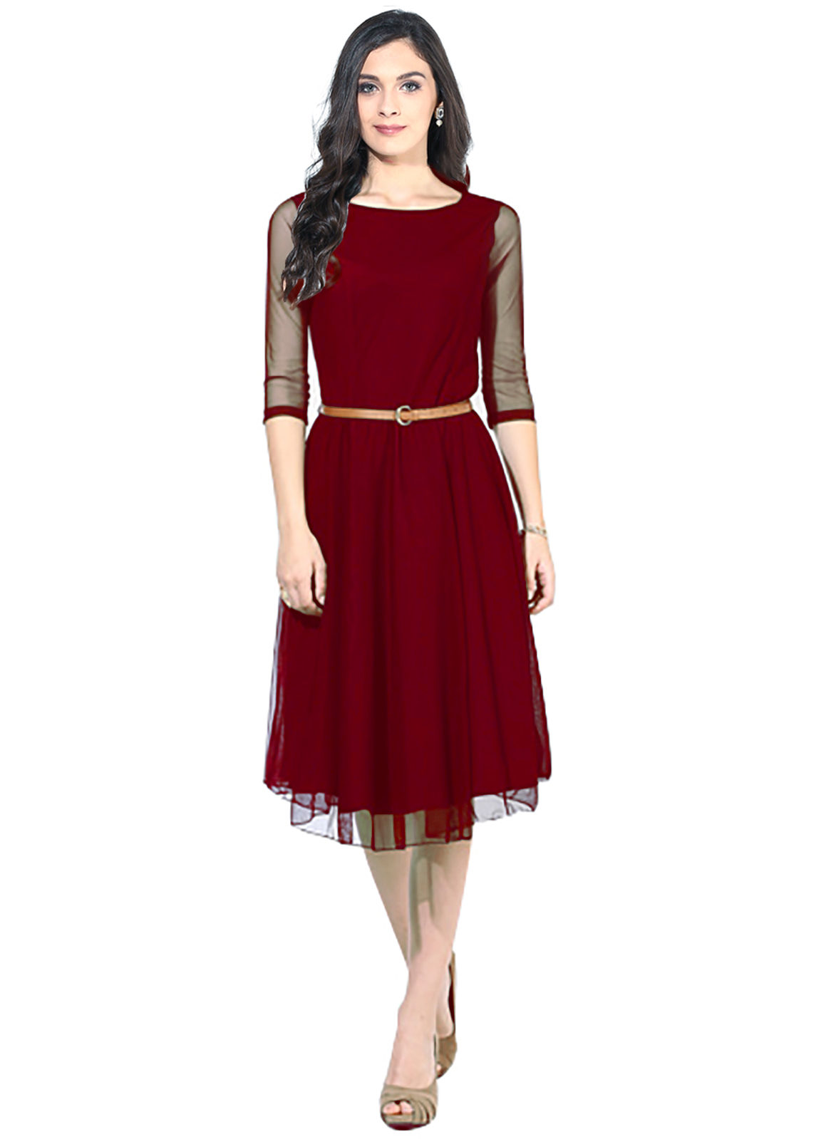 regonsell2 Maroon Moon Light Dress Color Printed Western Dress