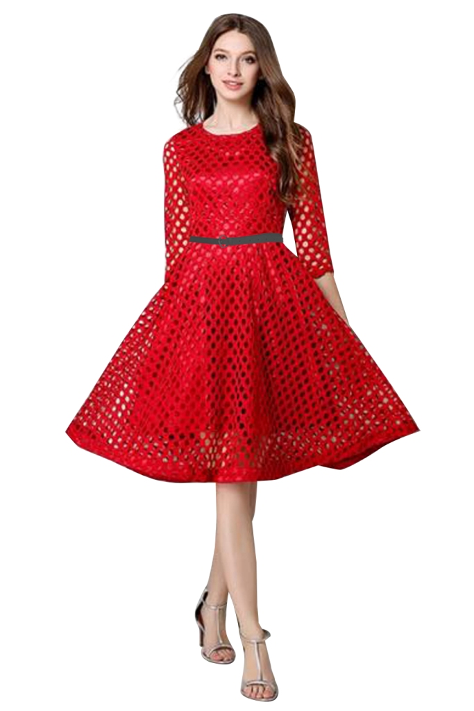 regonsell2 Maxican Red Color Printed Western Dress