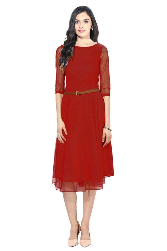 regonsell2 Red Moon Light Dress Color Printed Western Dress