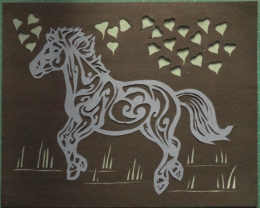 plushdecor Paper Cut Art Horse 002