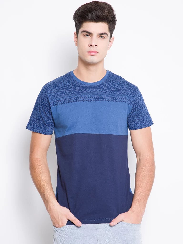 thehirensstore Dark Blue Solid T-shirt