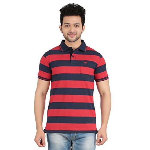 diamondcollections2 Loops  Striped Men's Polo Neck Blue, Red T-shirt