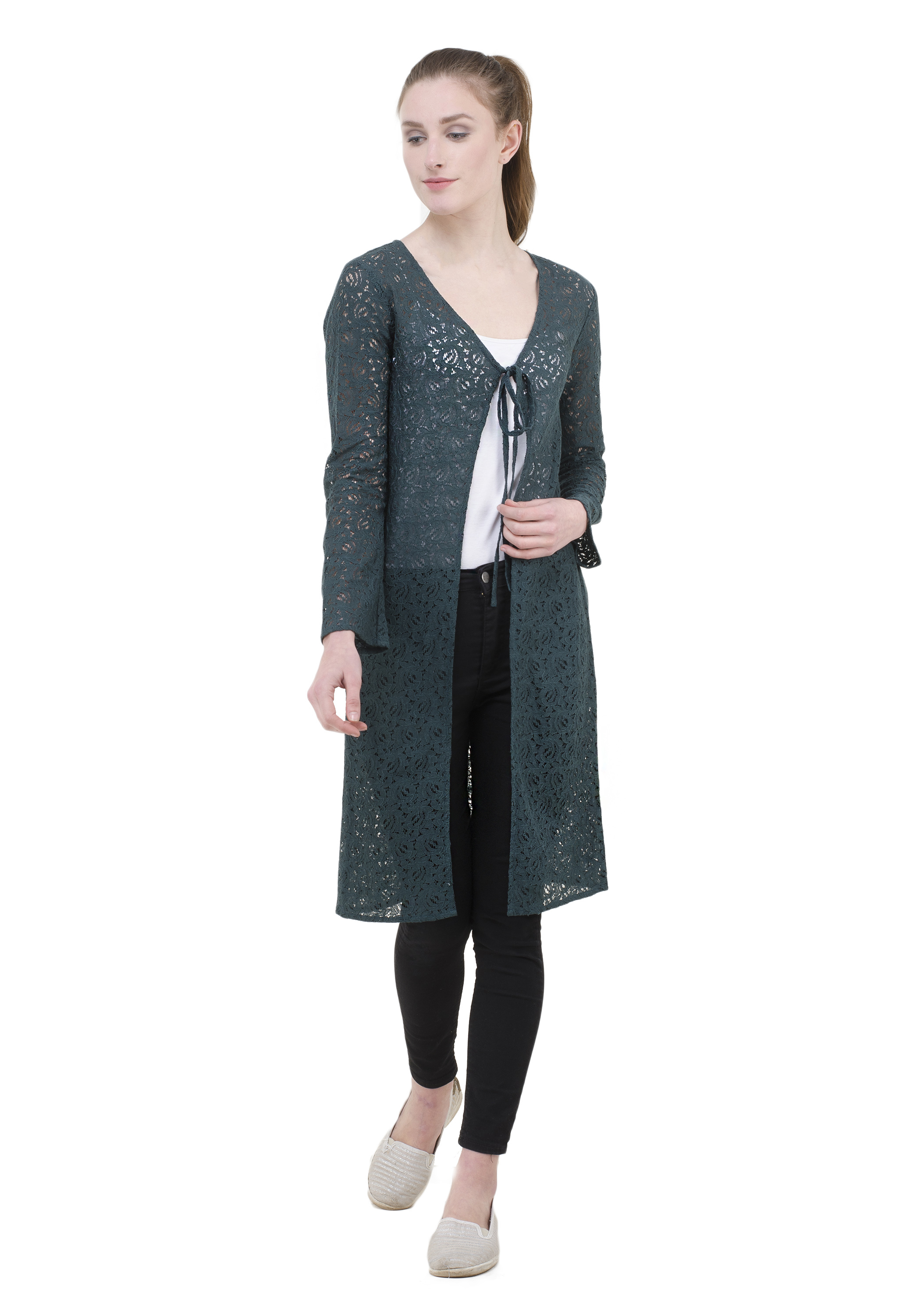 elioop Green Embroidary Lace Fabric With 3/4 Sleeve.dress Up With All Tops & T-shirt.1