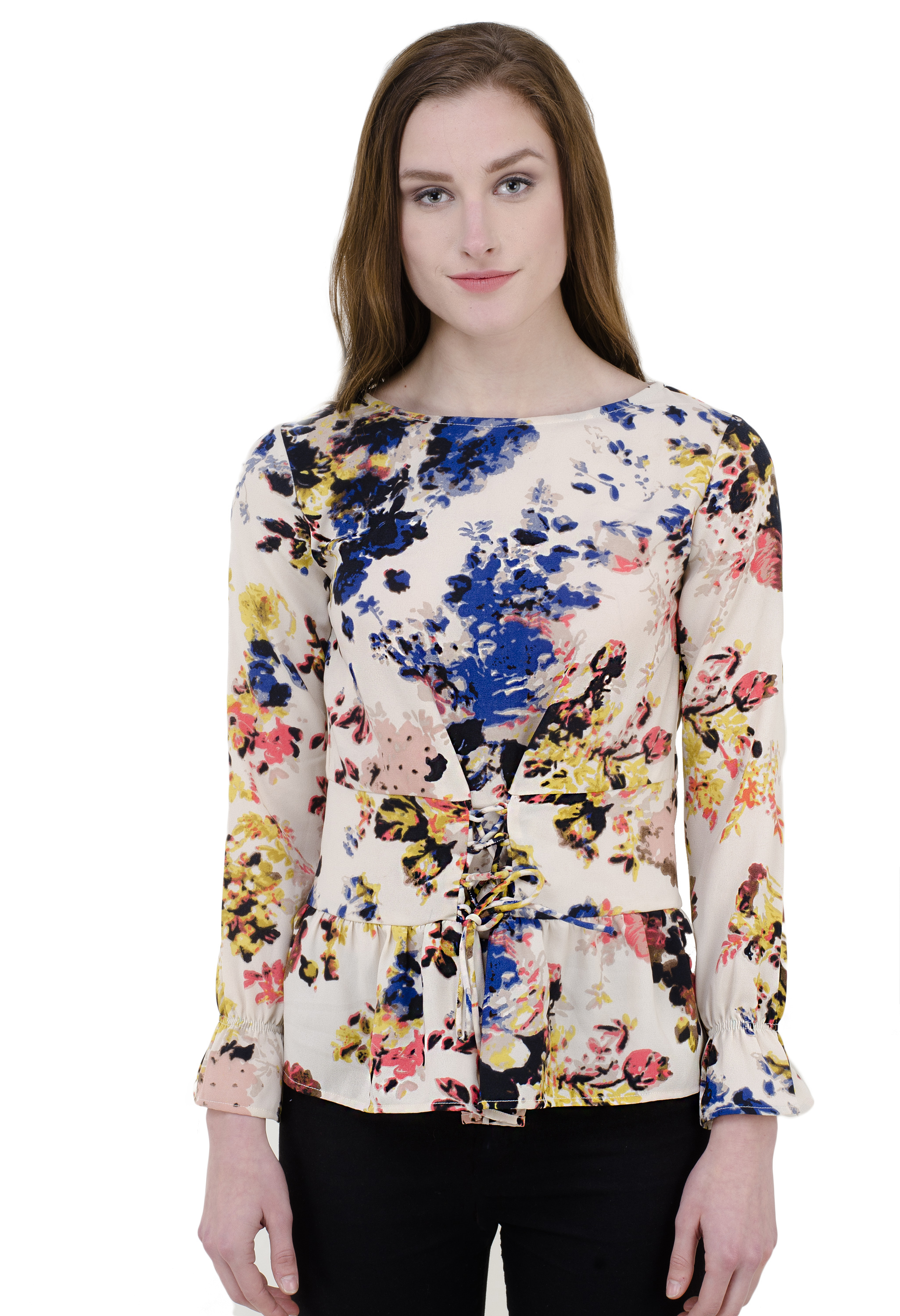 elioop Round Neck ,full Sleeve, Beautifull Color Print And Cross Detail On Cheast.1