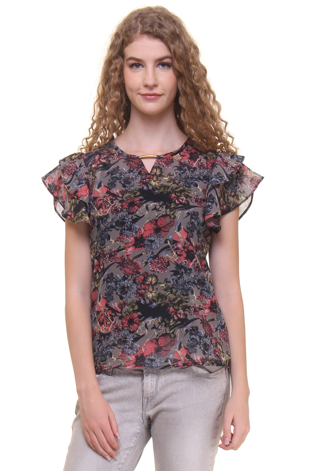Zoys Casual Short Sleeve Printed Women's Multicolor Top