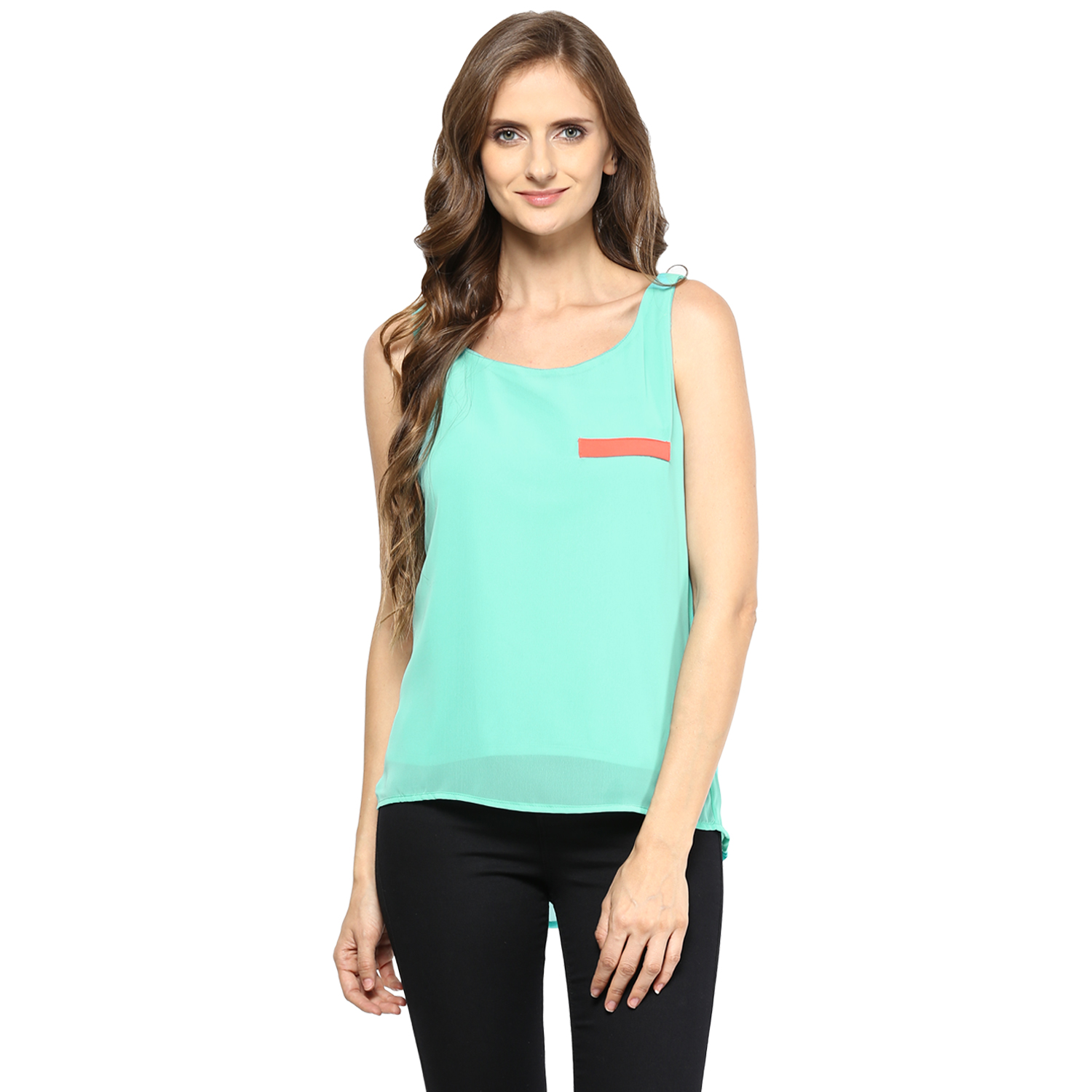 Zoys Casual Sleeveless Solid Women's Light Green Top