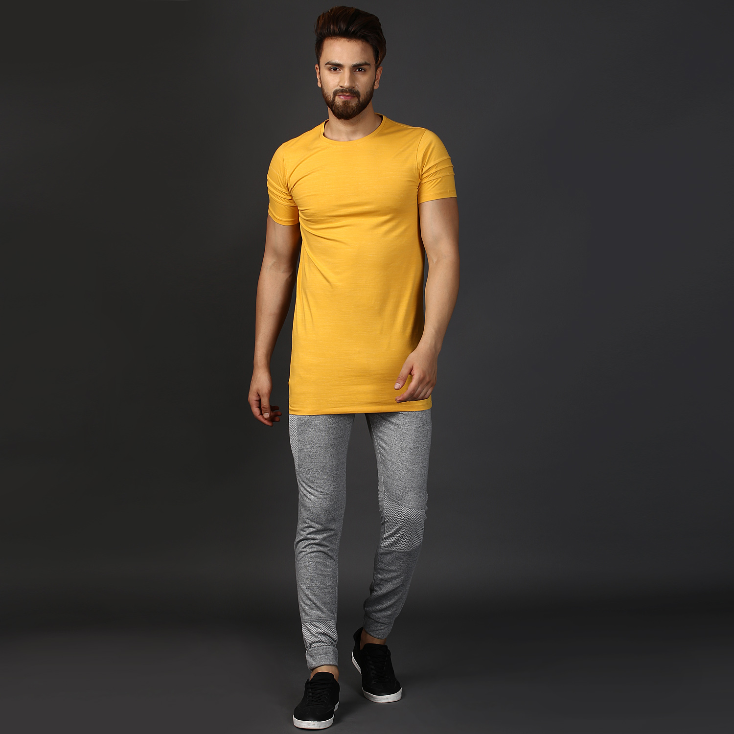 handaapparels Mkh Slub Ultra Modern Yellow Slim Fit Round Neck T-shirt