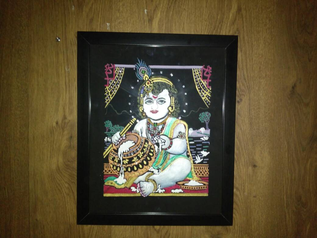 sharonfashiontrends Bala Krishna Traditional Embossed Painting Photo