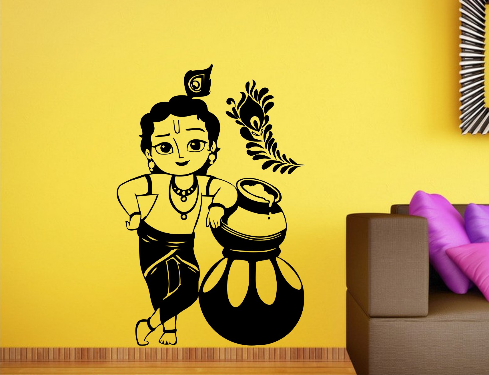Buy Heaven Decors Krishna Black Wall Decal at Lowest Price ...
