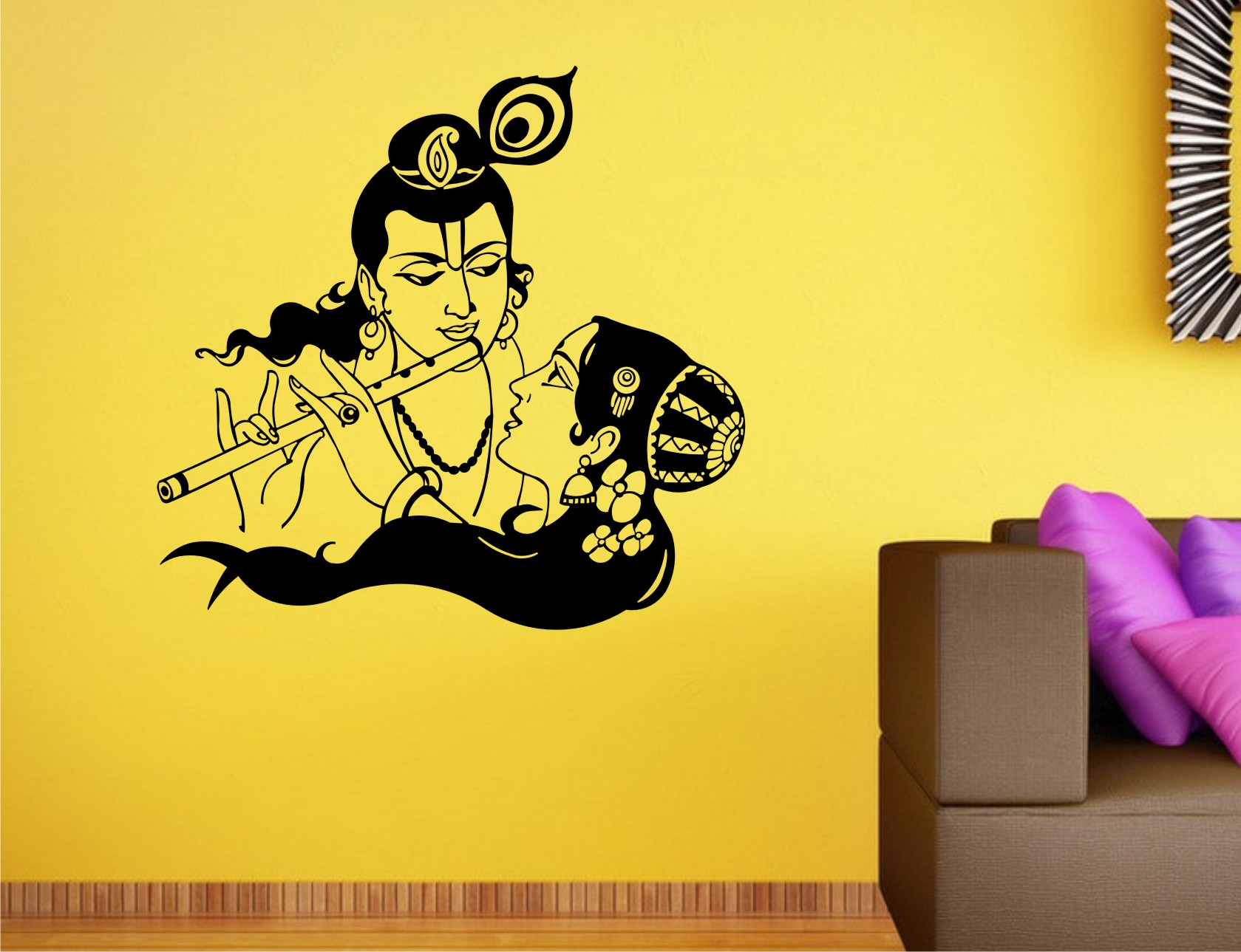 Wall stickers radha krishna - Buy Heaven Decors Radha Krishna Couple Wall Decal Size59x62cm Vinyl Black Wall Stickers At 74 Off Online India At Kraftly Hedera51522oio2380