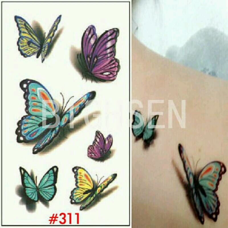 Buy free shipping new 3d butterfly small temporary tattoos for How to get fake tattoos off