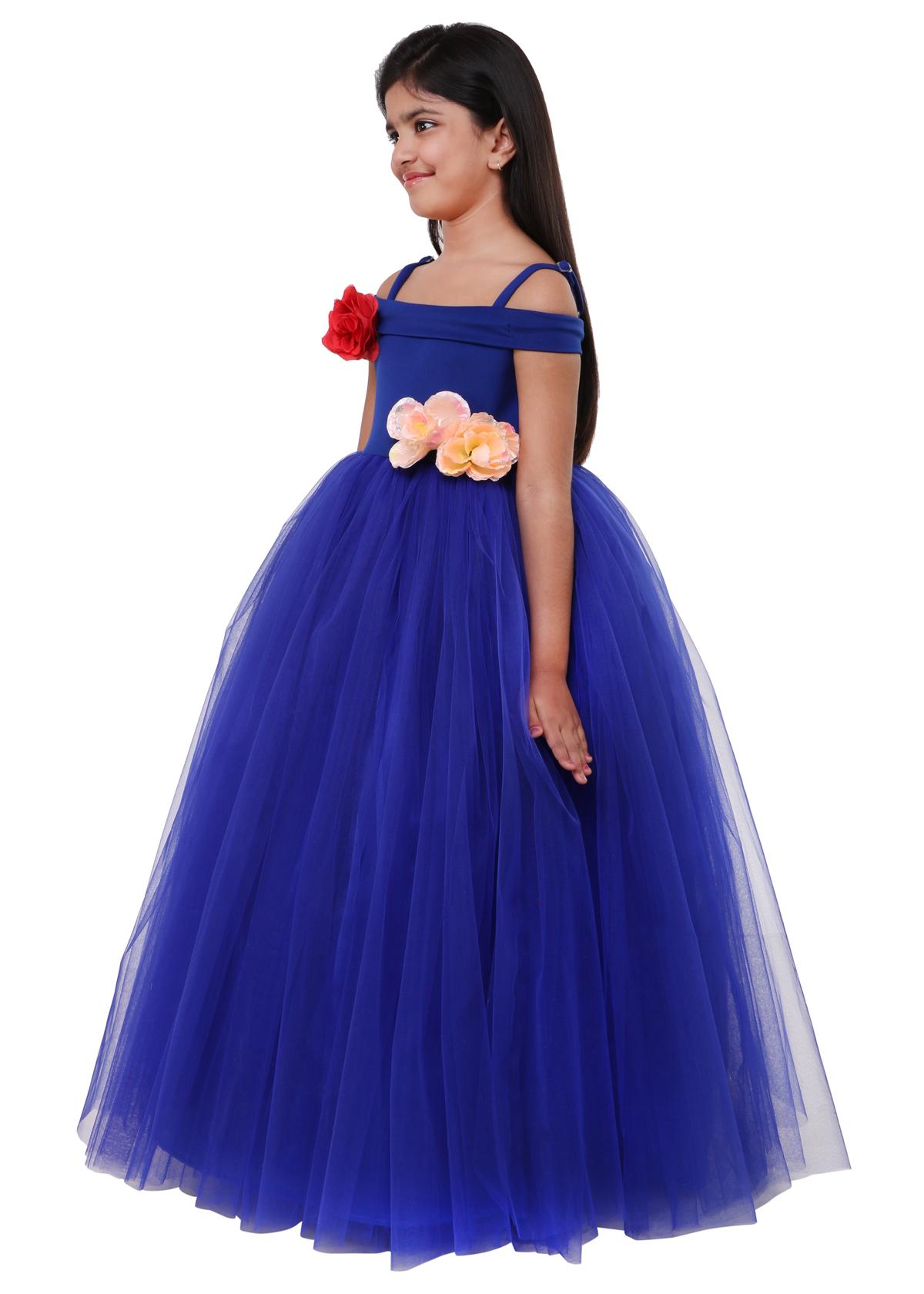 sofyana royal blue princess little girl bridesmaid dress