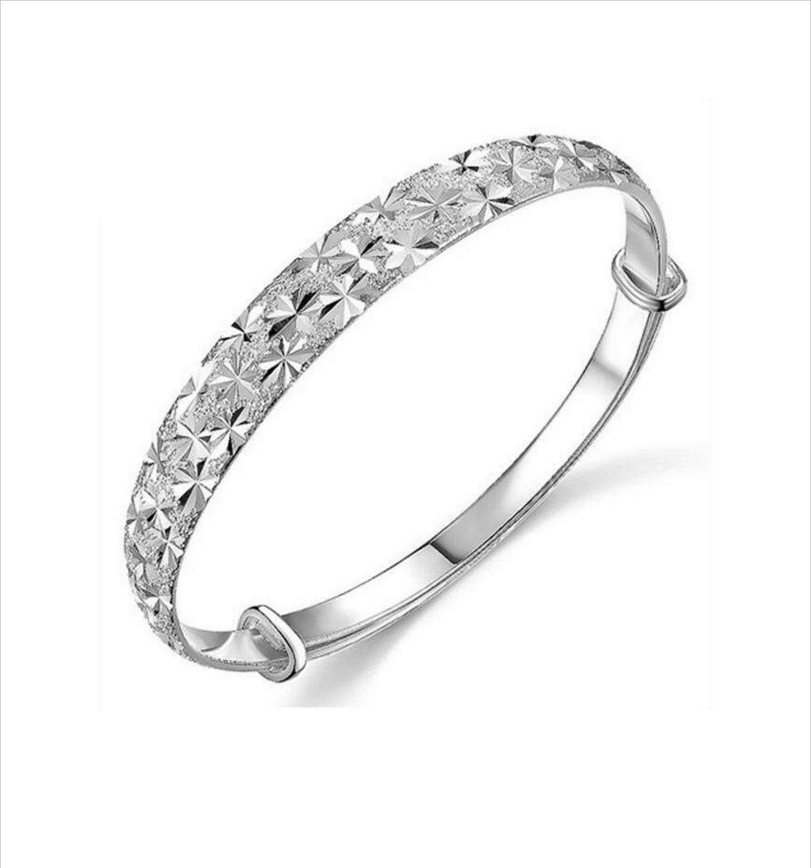 Buy Sterling Silver Star Design Bracelet Kada For Women Girls 55mm ...