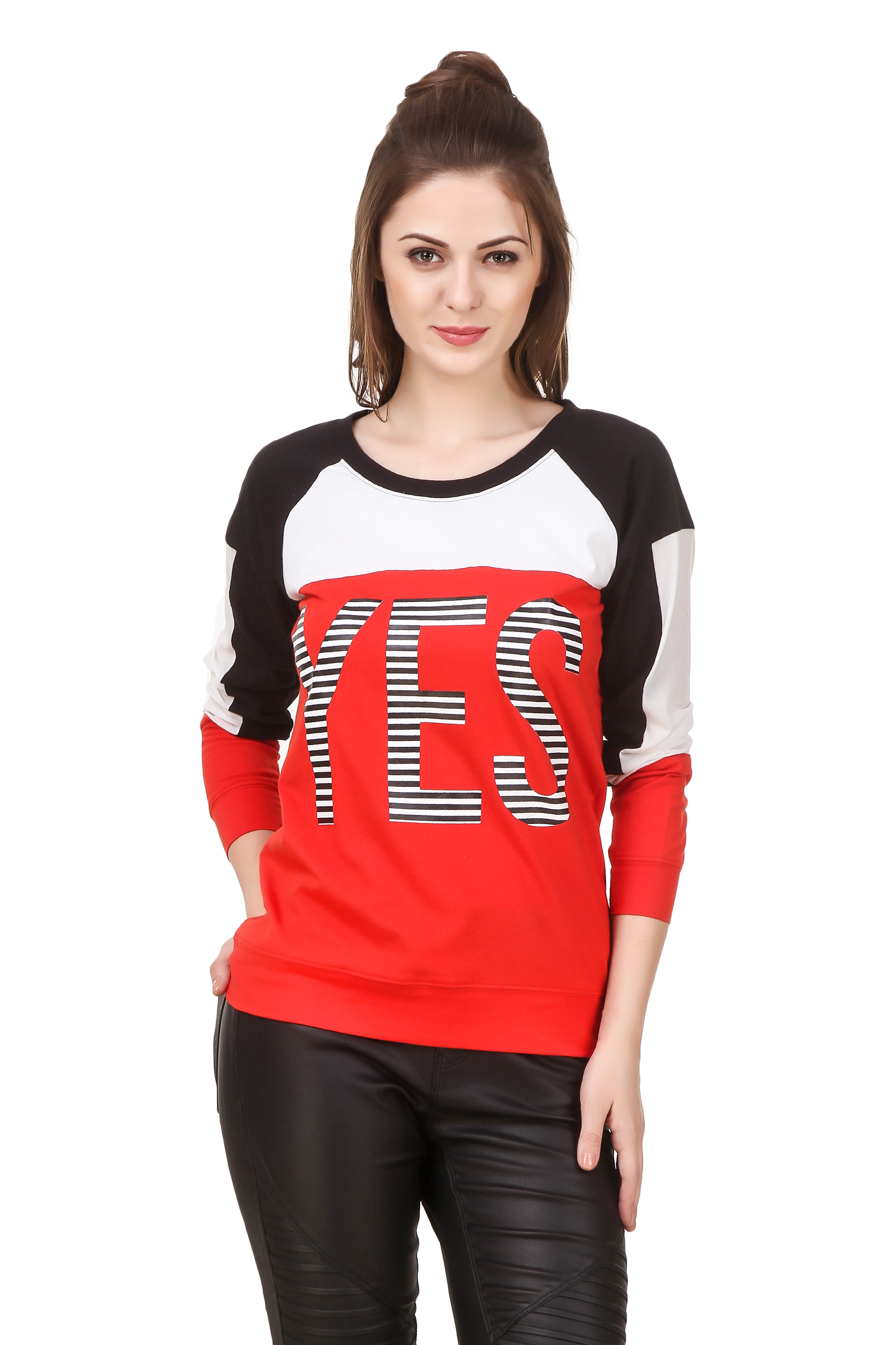 747a307a79aa1 Texco Women s Graffity Slogan Printed Red Color Block Sporty Top