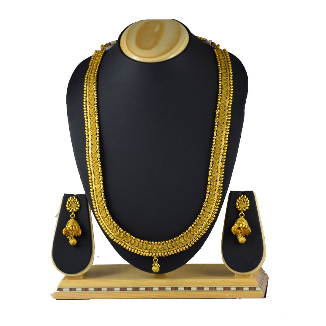 Make An Eye Catching Jewelry Stand From Plumber S Copper: Pourni Traditional Long Jalebi Necklace Set With Earring