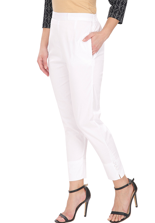 White Cotton Cigarette Pants