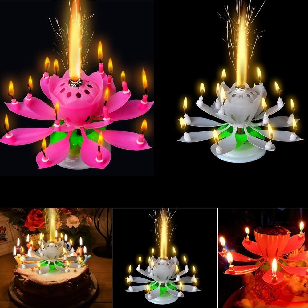 SweeTToothFun Musical Lotus Flower Rotating Happy Birthday Candle W 9 Small Candles