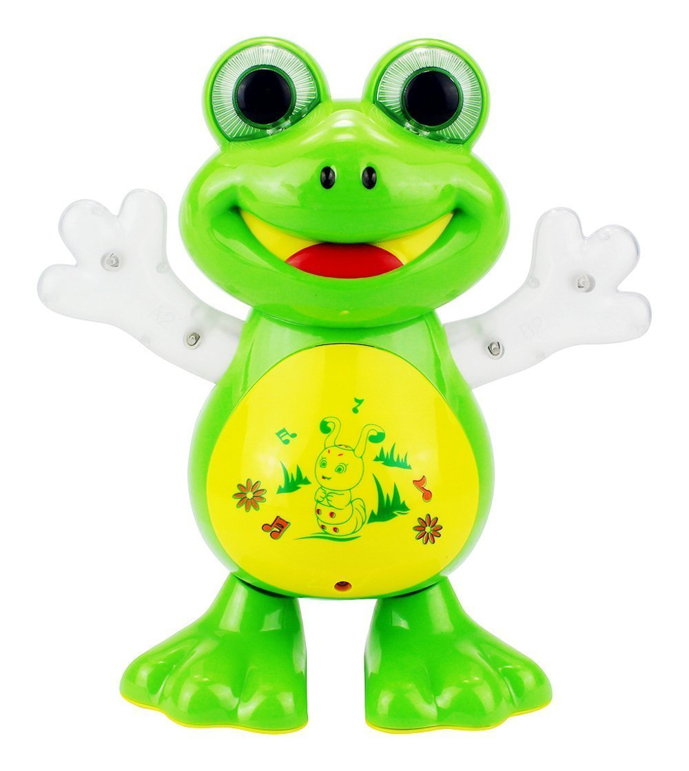 colonialkart Dancing Frog With Sounds, Glowing Hands/eyes With Sweet Melodies, Battery Operated, Multi Color