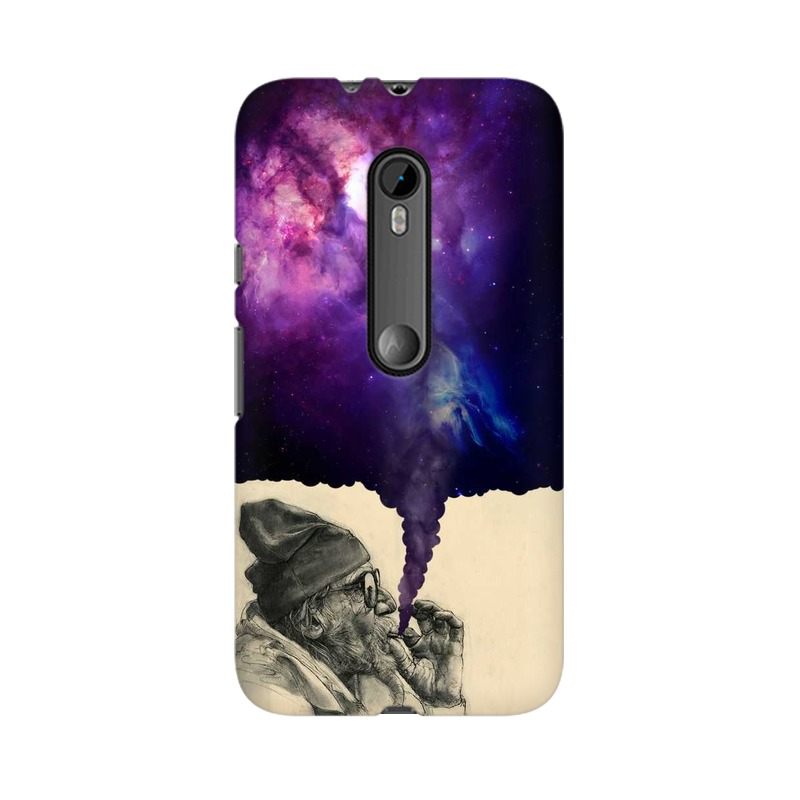 mobidrone Old Man Smokes Universe - Mobile Case For Moto X Play