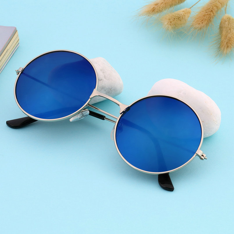 83c5778befb Sunglasses round blue glass silver frame for man