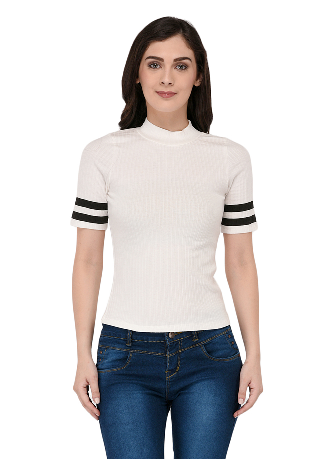 6257aa44dbbd1 Paparazzi Closet Womens Ribbed White Top with Striped Sleeves