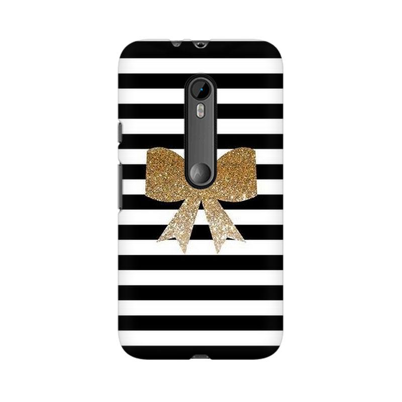 makwanaweb Moto X Play Golden Bow Mobile Back Case Cover