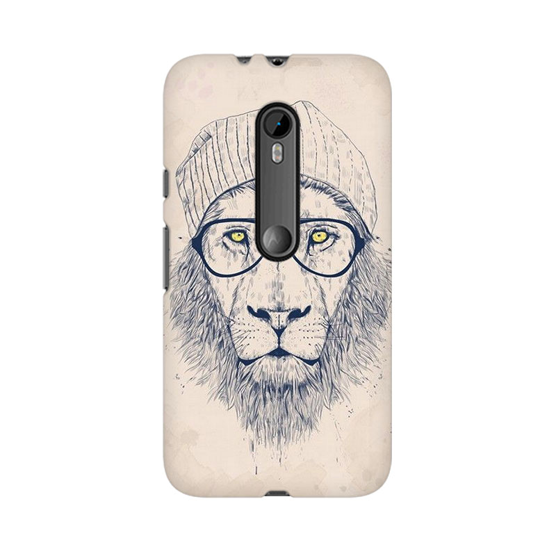 makwanaweb Moto X Play Lion With Glasses Mobile Back Case Cover