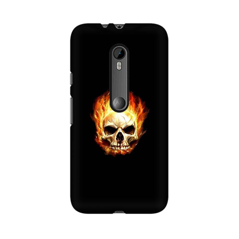 makwanaweb Moto X Play Skull In Flames Mobile Back Case Cover