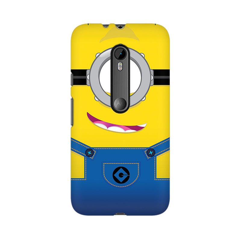 makwanaweb Moto X Play Smiley Minion Mobile Back Case Cover