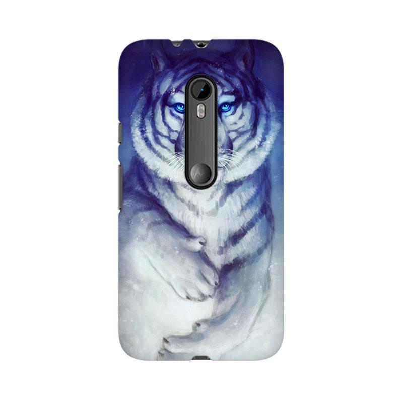makwanaweb Moto X Play White Tiger Mobile Back Case Cover